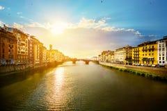 Romantischer Abend der Kunst in Florenz Italien lizenzfreies stockfoto