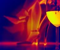 Romantischer Abend mit einem Glas Wein - Infrarot Lizenzfreie Stockfotos