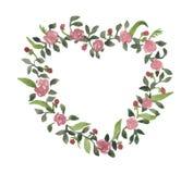 Romantischer Aquarellkranz, Blumen von Rosen lizenzfreies stockfoto