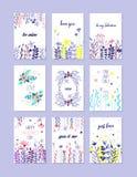 Romantischer Grußkartensatz, modische Karten für Valentinsgrußtag, Geburtstag, Jahrestag, gezeichneter Vektor der Einladung Hand lizenzfreie abbildung