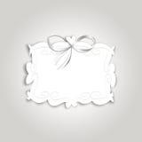 Romantischer Gutschein mit Weinleseaufkleber für Text und Seidenband Lizenzfreies Stockfoto