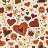 Romantischer Hintergrund der Schönheit mit Herzen und Blumen Stockfotos