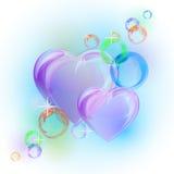 Romantischer Hintergrund mit bunten Blasenherzen Stockfotos
