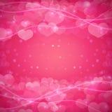 Romantischer Hintergrund mit einem Muster von Herzen und von Scheinen Schablone für Einladungen, Fahnen, Broschüren Gut für Lizenzfreies Stockbild