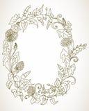 Romantischer Hintergrund mit Kranz der wilden Blume Stockfotos