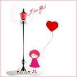 Romantischer Hintergrund mit nettem kleinem Mädchen Lizenzfreie Stockfotografie