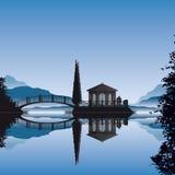 Romantischer Inselpavillion Stockbild