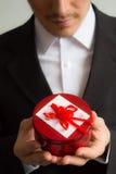 Romantischer Mann mit einem Geschenk Stockbild