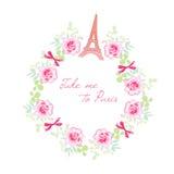 Romantischer Paris-Vektordesignrahmen Rosen-Bündel, Bögen, Eiffel t Stockfotografie