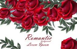 Romantischer Rosenkarte Vektor Schöner Blumenfahnendekor der roten Rosen Elegante Dekorweinlesehintergründe Lizenzfreie Stockfotos