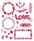Romantischer Satz des Aquarells Blumenrahmen, Elemente und Letering, lokalisiert auf weißem Hintergrund Rosa Blumen, Knospen und  Stockbild