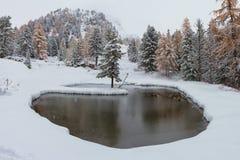 Romantischer schneebedeckter See lizenzfreie stockfotografie