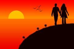Romantischer Sonnenuntergang lizenzfreie abbildung