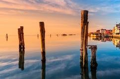 Romantischer Sonnenuntergang auf der Venedig-Lagune Insel von Pellestrina stockbilder