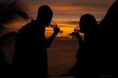 Romantischer Sonnenuntergang in der St. Lucia Stockfotografie