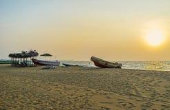 Romantischer Sonnenuntergang in Negombo Lizenzfreie Stockfotografie