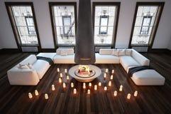 Romantischer städtischer Wohnungswohnzimmerinnenraum lizenzfreie abbildung
