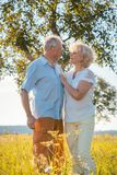 Romantisches älteres Paarhändchenhalten beim zusammen gehen Stockbild