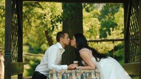 Romantisches Abendessen des reizend Händchenhaltens und des Küssens der Jungvermähltenpaare zart im Freien stock video footage