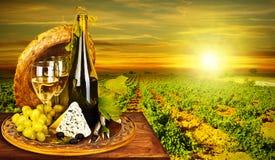 Romantisches Abendessen des Weins und des Käses im Freien Stockbilder