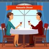 Romantisches Abendessen für zwei Mann und Frau Lizenzfreies Stockfoto