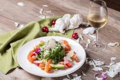 Romantisches Abendessen mit Wein Lizenzfreies Stockbild