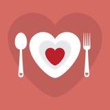 Romantisches Abendessenmenü der Grußkarten-Liebe glückliche Valentine Day-Vektorillustration Musterdesign Flieger oder Einladung lizenzfreie abbildung