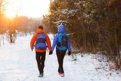 Romantisches Foto von der Rückseite des Mannes und der Frau mit Rucksäcken im Winterwald Lizenzfreie Stockfotografie