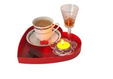 Romantisches Frühstück mit Schokolade und Likör Lizenzfreies Stockfoto