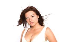 Romantisches Frauenportrait auf Weiß. Stockfotografie