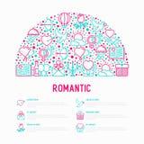 Romantisches Konzept im Halbkreis lizenzfreie abbildung