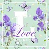 Romantisches Liebes-T-Shirt Design mit blühender Iris Flowers und Schmetterlingen Blumenpostkarten-Einladungs-Gewebe-Hintergrund- Lizenzfreie Stockfotografie