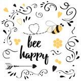 Romantisches Liebeszitat für Valentinsgrußtag oder speichern die Datumsfahne Bienen-Bergwerk lizenzfreie abbildung
