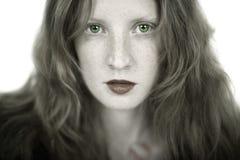 Romantisches Mädchen mit Freckles Stockbild