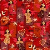 Romantisches nahtloses Muster der feenhaften Liebe Lizenzfreies Stockfoto
