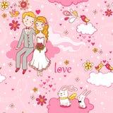 Romantisches nahtloses Muster der Karikatur. lizenzfreie abbildung