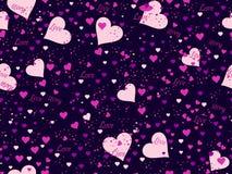 Romantisches nahtloses Muster Lieben Sie Hintergrund mit Herzen, Beeren und den Lippen Elemente der Schmutzart Vektor Lizenzfreie Stockbilder