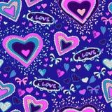 Romantisches nahtloses Muster mit Herzen Lizenzfreie Stockfotografie