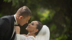 Romantisches Porträt der glücklichen umarmenden Jungvermähltenpaare Die Braut streicht zart die Backe des Bräutigams an stock video