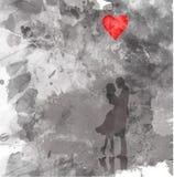 Romantisches Schattenbild von liebevollen Paaren Valentinsgruß-Tag am 14. Februar Glückliche Geliebte Vektorillustration, Aquarel Lizenzfreie Stockbilder