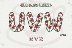 Romantisches Weinlesedesign des Alphabetes Englische Buchstaben Rote Rosen Shabby-Chic-Stil Gussvektortypographie Hand gezeichnet Lizenzfreie Stockfotos