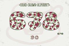 Romantisches Weinlesedesign des Alphabetes Englische Buchstaben Rote Rosen Shabby-Chic-Stil Gussvektortypographie Hand gezeichnet Lizenzfreie Stockfotografie