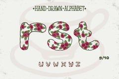 Romantisches Weinlesedesign des Alphabetes Englische Buchstaben Rote Rosen Shabby-Chic-Stil Gussvektortypographie Hand gezeichnet Stockfoto