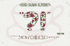 Romantisches Weinlesedesign des Alphabetes Englische Buchstaben Rote Rosen Shabby-Chic-Stil Gussvektortypographie Hand gezeichnet Stockbild