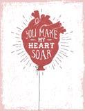 Romantisk affisch med en hjärta som en ballong Arkivbilder