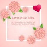 Romantisk affischramgarnering med hjärtor, blommor och ramen för lyckligt kort för valentindaghälsning eller bröllopinbjudan royaltyfri illustrationer