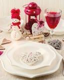 Romantisk afton för vinter på valentin dag Valentin dagtabl Royaltyfria Bilder