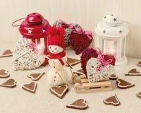 Romantisk afton för vinter på valentin dag Valentin dagtabl Arkivfoto