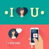 Romantisk anförandebubblahjärta och smartphone med förälskelsemeddelandet i plan design också vektor för coreldrawillustration vektor illustrationer