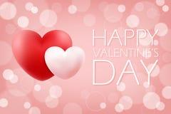 Romantisk bakgrund för lycklig dag för valentin` s med röda och rosa realistiska hjärtor 14 februari feriehälsningar Arkivfoto